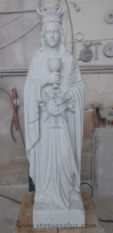 New Marble Crowned St. Barbara Statue