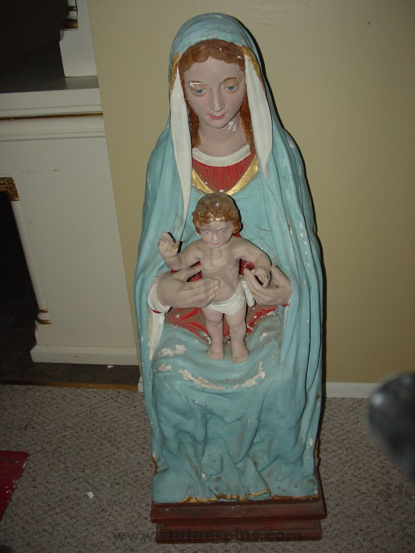 Vintage Seated Mary with Baby Jesus Statues